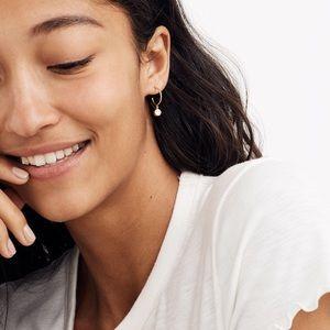 MADEWELL Bezel Glass Charm Mini Hoop Earrings